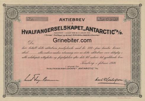 Antarctic Hvalfangerselskapet Aksjebrev