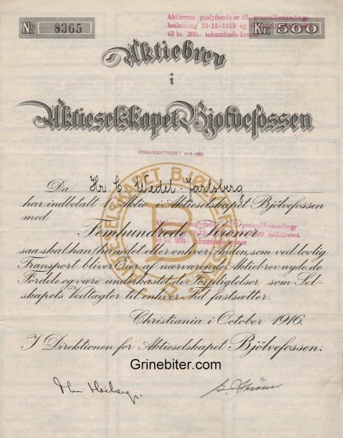 Bjølvefossen Aktieselskapet Aksjebrev