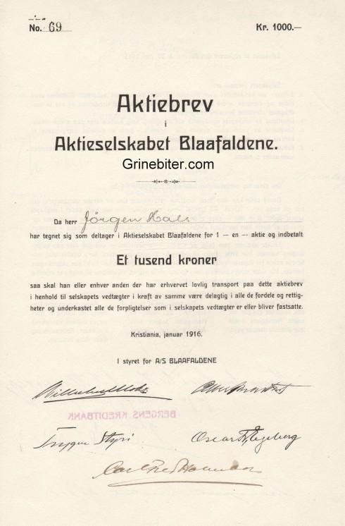 Blaafaldene Aksjebrev