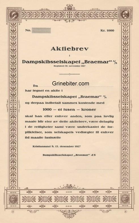 Braemar Dampskibselskapet Aksjebrev