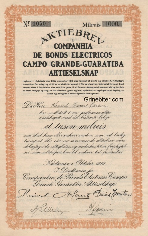 Companhia De Bonds Electricos campo Aksjebrev