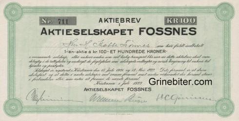 Fossnes Aktieselskapet Aksjebrev