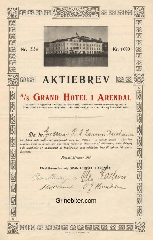 Grand Hotel I Arendal Aksjebrev