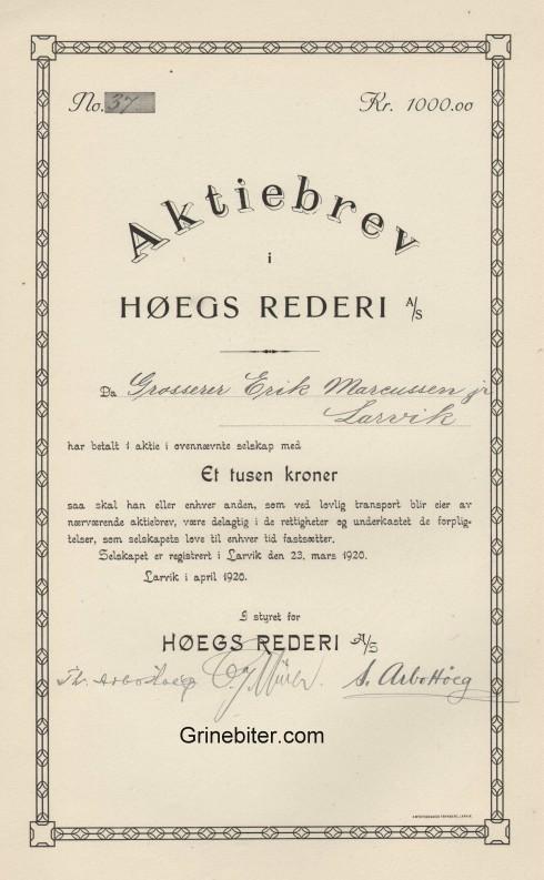 Høegs Rederi Aksjebrev