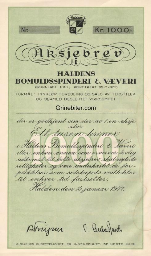 Haldens Bomuldsspinderi & Væveri Aksjebrev