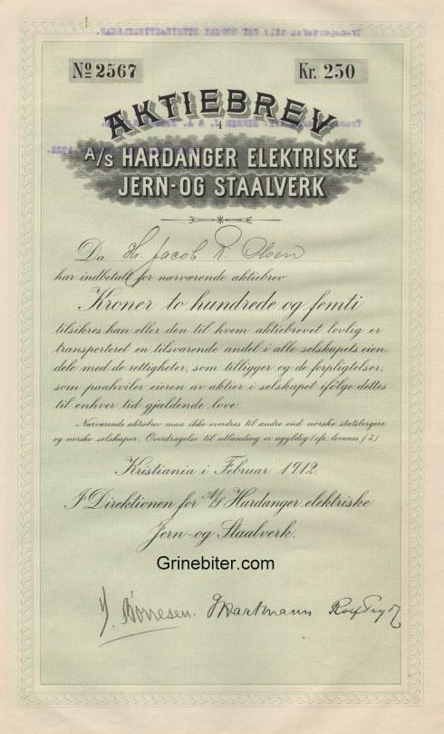 Hardanger Elektriske Jern og Staalverk Aksjebrev