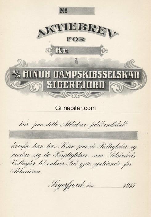 Hindø Dampskibsselskab Sigerfjord Aksjebrev