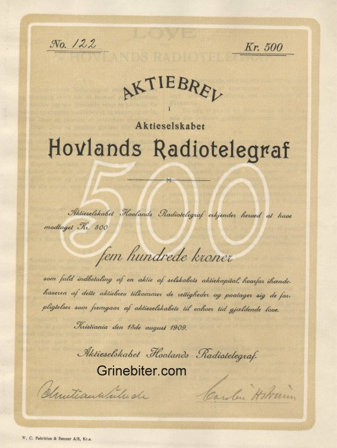 Hovlands Radiotelegraf Aksjebrev