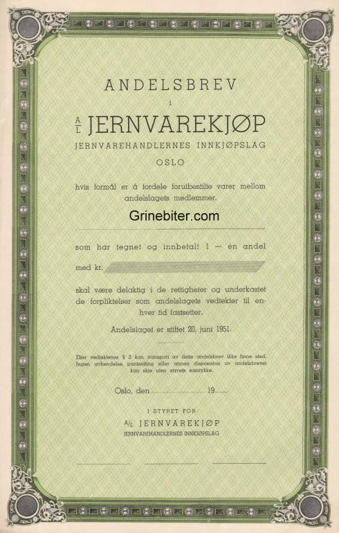 Jernvarekjøp Aksjebrev