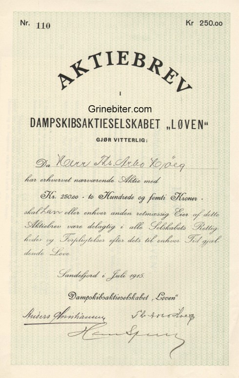 Løven Dampskibsaktieselskabet Aksjebrev