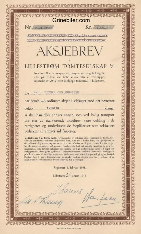 Lillestrøm Tomteselskap Aksjebrev