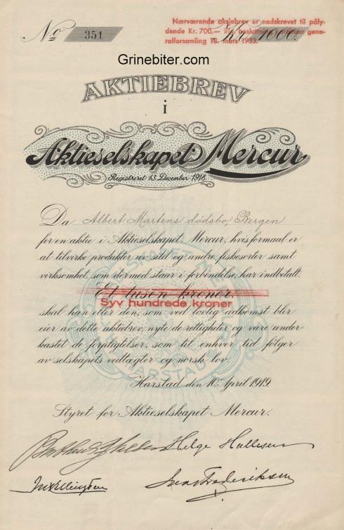 Mercur Aktieselskapet Aksjebrev