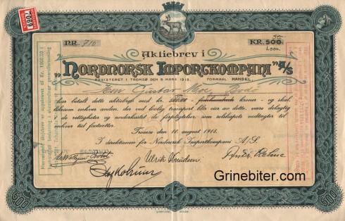 Nordnorsk Importkompani Aksjebrev
