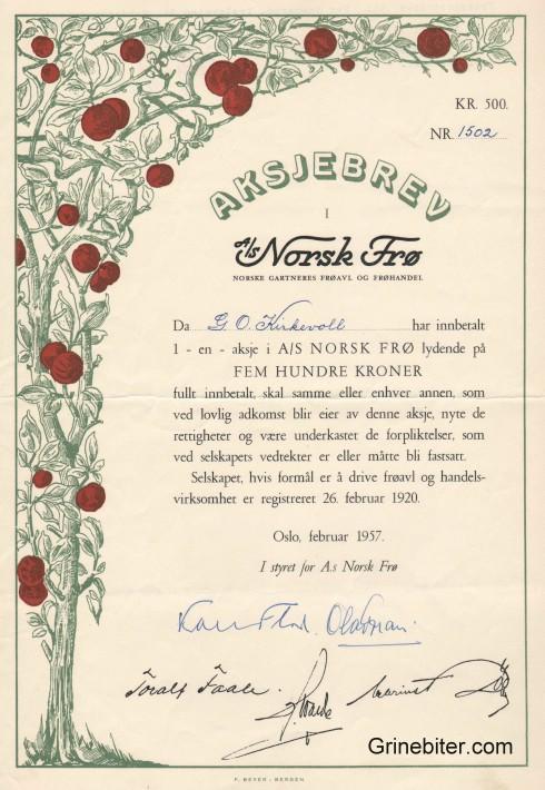 Norsk Frø Aksjebrev