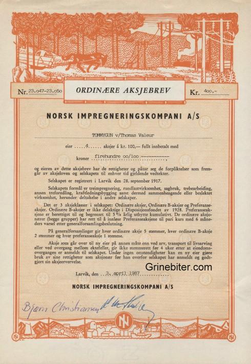 Norsk Impregneringskompani Aksjebrev