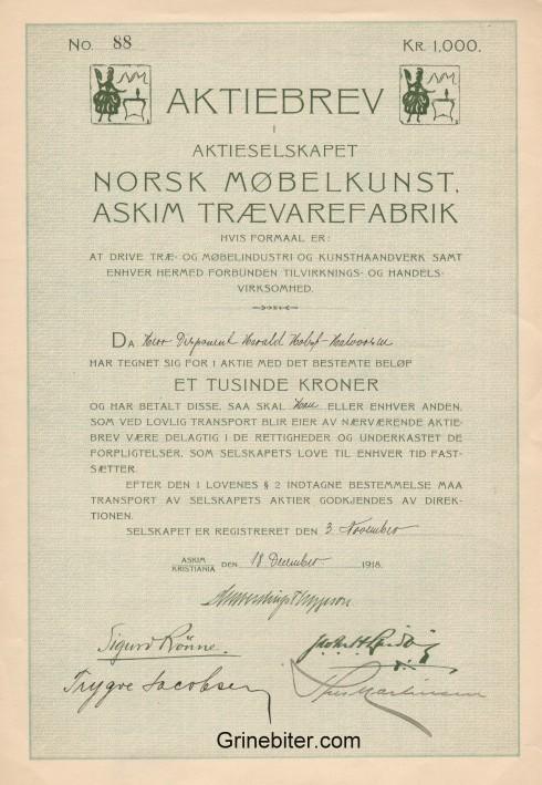Norsk Møbelkunst Askim Trævarefabrik Aksjebrev