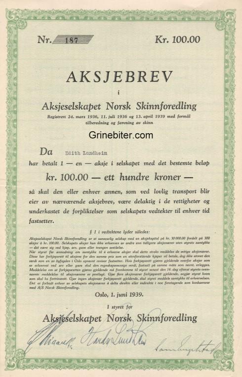 Norsk Skinnforedling Aksjebrev