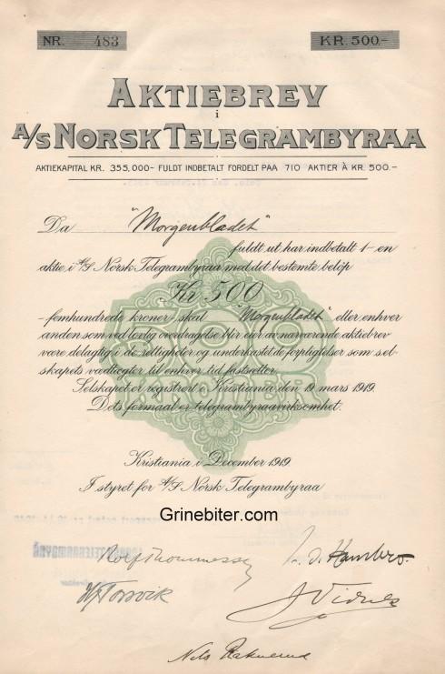 Norsk Telegrambyraa Aksjebrev