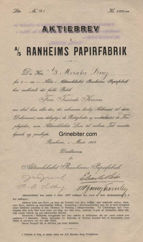Ranheims Paperfabrik Aksjebrev