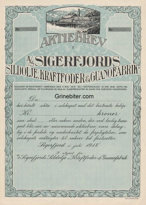 Sigerfjords Sildolje Kraftfoder og Guanofabrik Aksjebrev