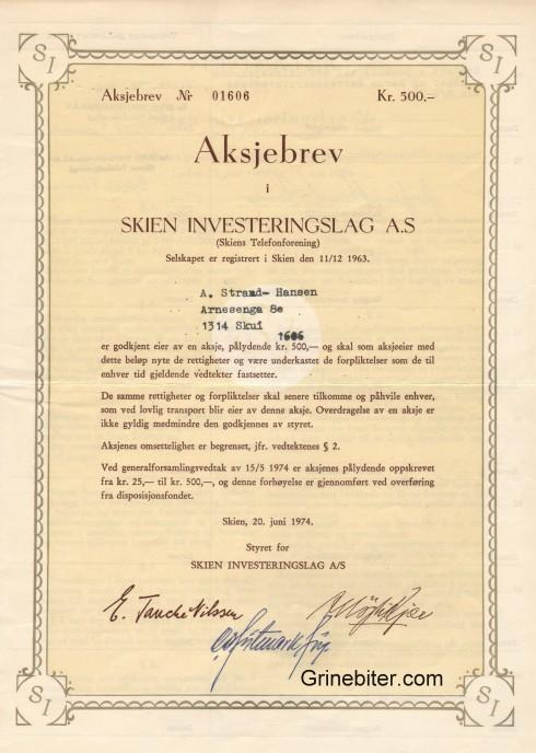 Skien Investeringslag Aksjebrev