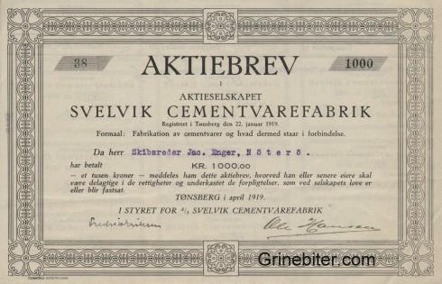 Svelvik Cementvarefabrik Aksjebrev