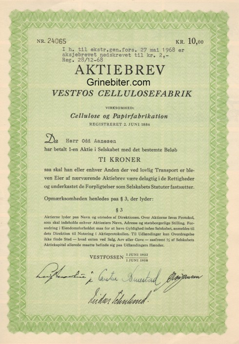 Vestfos Cellulosefabrik Aksjebrev