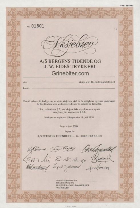 Bergens Tidende og J W Eides Trykkeri