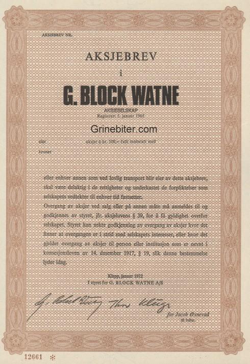 G. Block Watne