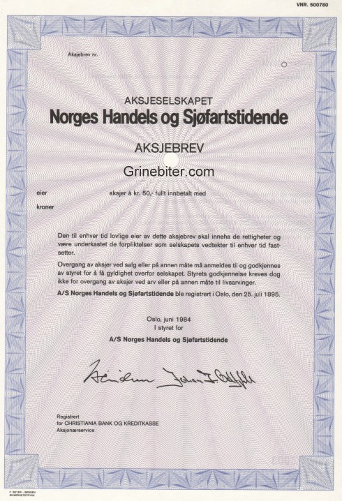 Norges Handels & Sjøfartstidene aksjebrev