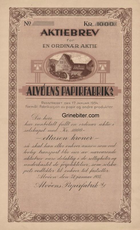 Alvøens Papirfabrik Aksjebrev