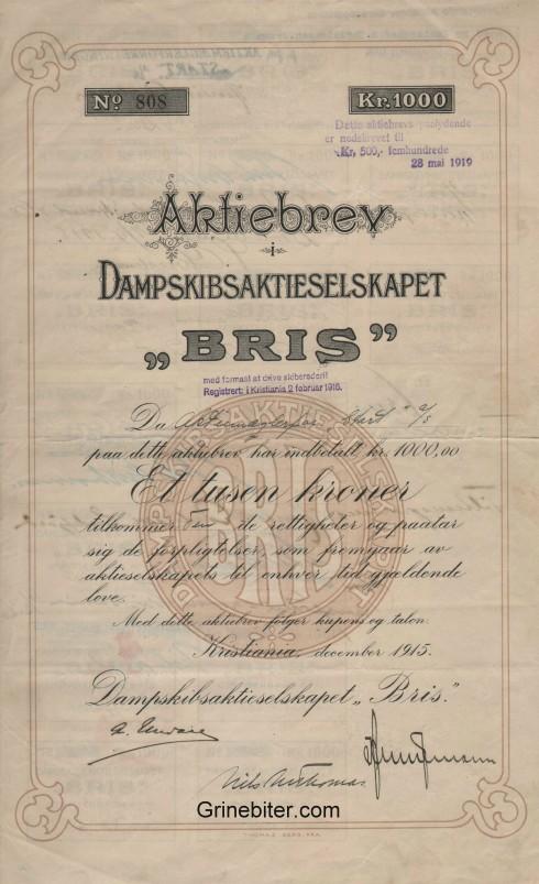 Bris Damskibsaktieselskapet Aksjebrev