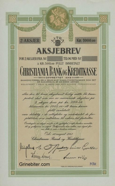Christiania Bank og Kreditkasse Aksjebrev