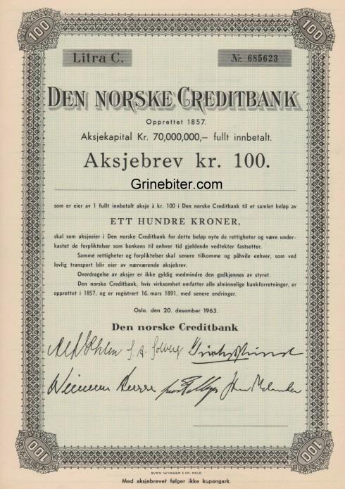 Den Norske Creditbank Aksjebrev