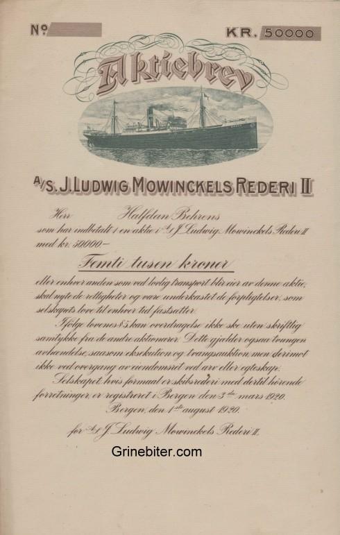 J. Ludwig Mowinckels Rederi II Aksjebrev