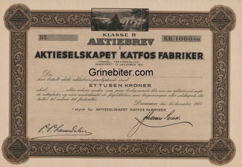 Katfos Fabriker Aksjebrev