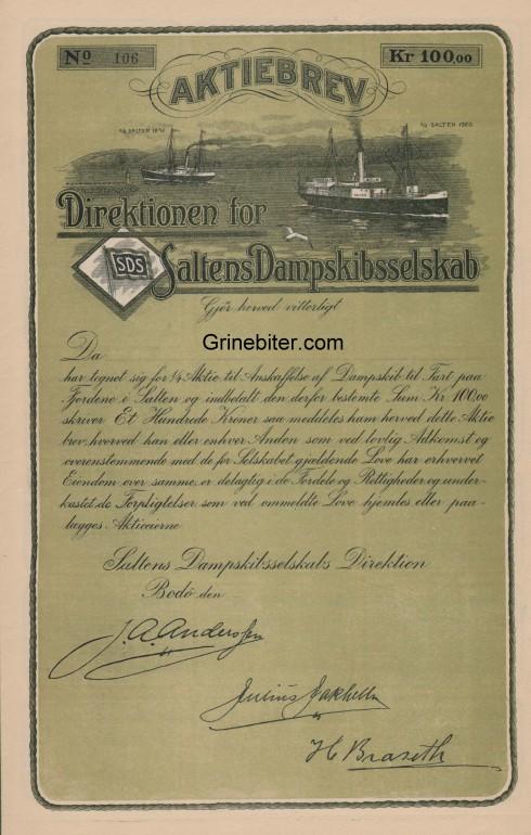 Saltens D/S Aksjebrev