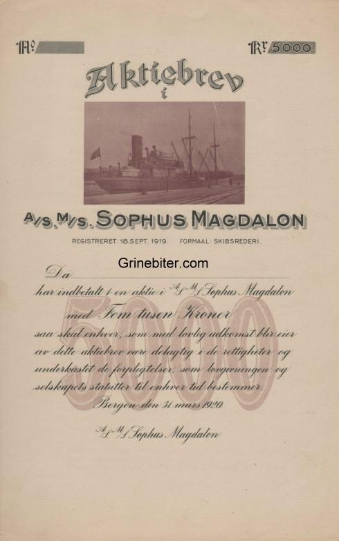 Sophus Magdalon Aksjebrev