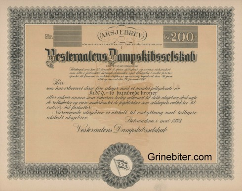 Vesteraalens Dampskibsselskab Aksjebrev