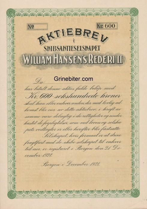 William Hansen's Rederi II Aksjebrev