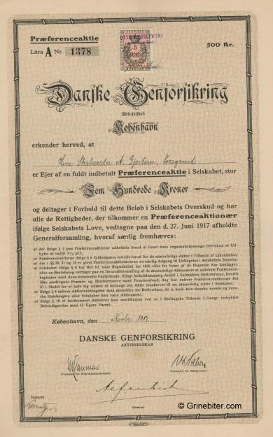 Danske Genforsikring A/S Stock Certificate Aksjebrev