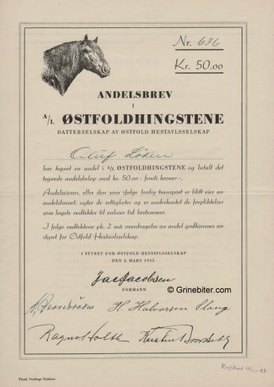 Østfoldhingstene Stock Certificate Aksjebrev