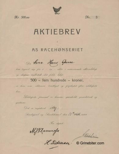 Racehønseriet Stock Certificate Aksjebrev