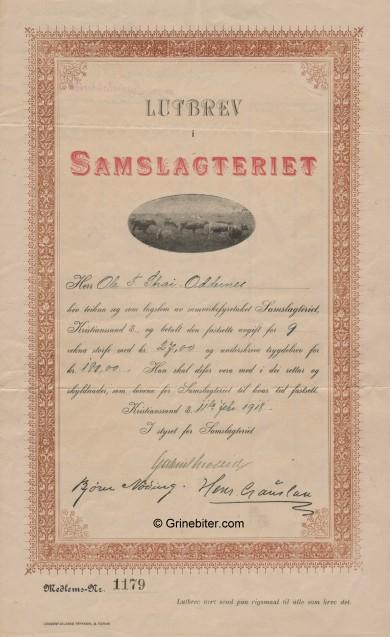 Samslagteriet Stock Certificate Aksjebrev
