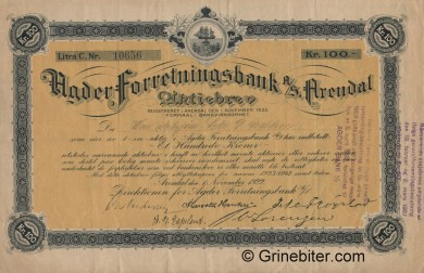 Agder Forretningsbank - Picture of Norwegian Bank Certificate