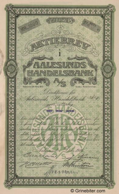 Aalesunds Handelsbank - Picture of Norwegian Bank Certificate