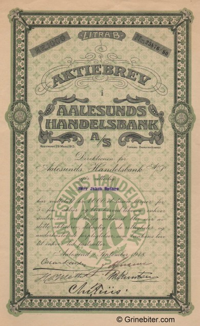 Aalesunds Handelsbank - Picture of Norwegian Bank Certificate