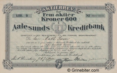 Aalesunds Kreditbank A/S - Picture of Norwegian Bank Certificate