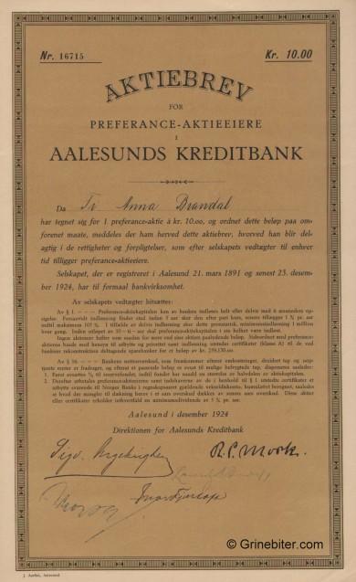 Aalesunds Kreditbank A/S - Picture of Norwegian Bank Certificate