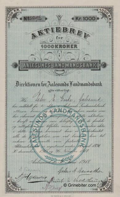 Aalesunds Landmands BK - Picture of Norwegian Bank Certificate